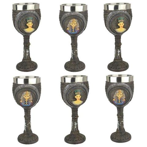 Design Toscano Egyptian Deities Sculptural Royal Goblet: Set of Six