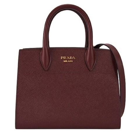 Prada Bibliotheque Maroon Saffiano City Leather Top Handle Satchel Bag