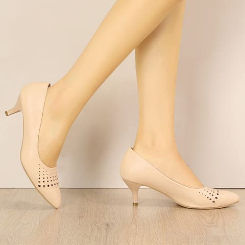Women's Cut Out Pointed Toe Kitten Heel Dress Pumps - Nude