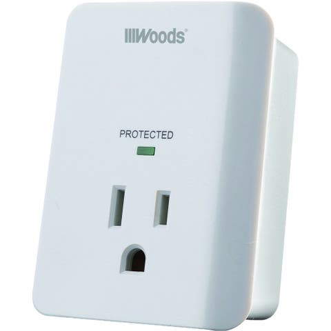 Woods 41008 1-Outlet Power Surge Protector with LED Indicator & Alarm, White