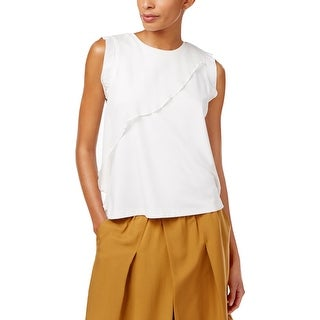DKNY Womens Petites Tank Top Asymmetrical Ruffled