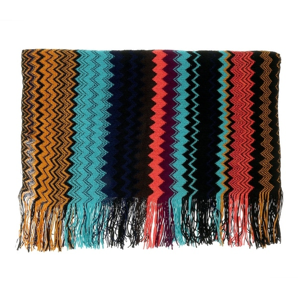 Missoni Black/Blue Long Mix Zigzag Pattern Scarf - 20-71. Opens flyout.