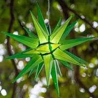 "Wintergreen Lighting 72717 Indoor / Outdoor LED Moravian Star with 60"" Lead - green - N/A"