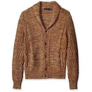 Nautica NEW Brown Mens Size Small S Shawl Collar Mixed Stitch Cardigan