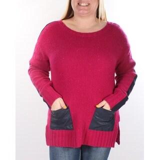 TOMMY HILFIGER $90 Womens 1264 Pink Jewel Neck Long Sleeve Sweater L B+B