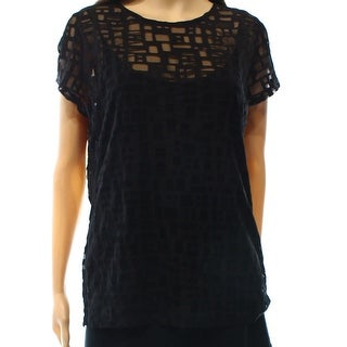 INC NEW Black Women's Size Medium M Illusion Mesh Printed Blouse
