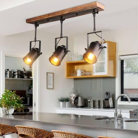 "LNC Modern Industrial 3-light Wood Ceiling Track Lighting Spotlights - 24.8""x 4.7"" x 15.3"""