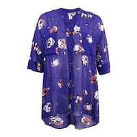 Anne Klein Women's High-low Floral Blouse - African Violet Combo - L