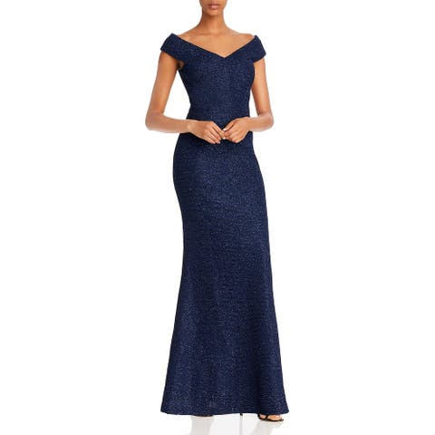 Eliza J Womens Formal Dress Off-The-Shoulder Glitter - Navy
