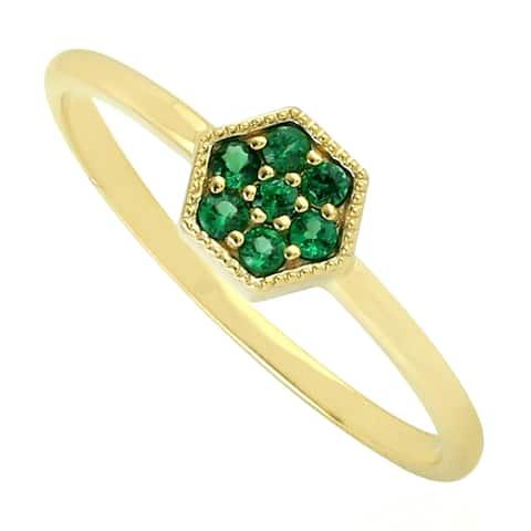 14kt Yellow Gold Hexagone Ring Tsavorite Gemstone Jewelry Black Friday Sale