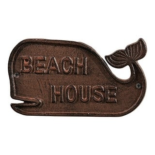 Beach House Whale Wall Plaque Cast Iron 7.75 Inches