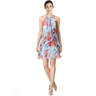 SLNY SL Fashions Printed Chiffon Overlay Shift Dress