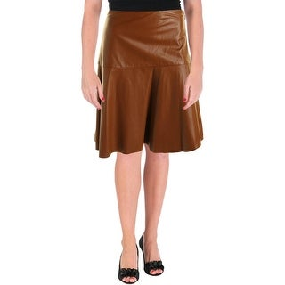 Lauren Ralph Lauren Womens Leather Below knee Flare Skirt - 8