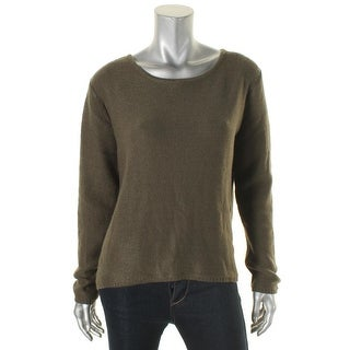Elan Womens Sweater Ribbed Trim Hi-Low Hem