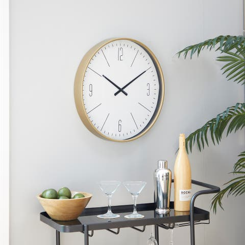 White Glass Contemporary Wall Clock 20 x 20 x 2 - 20 x 2 x 20