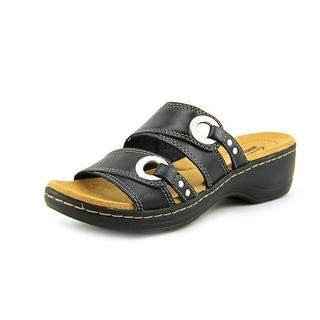 Clarks Hayla Acadia Women Open Toe Leather Black Slides Sandal