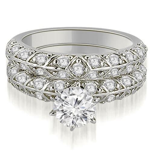 1.73 cttw. 14K White Gold Antique Round Cut Diamond Engagement Set