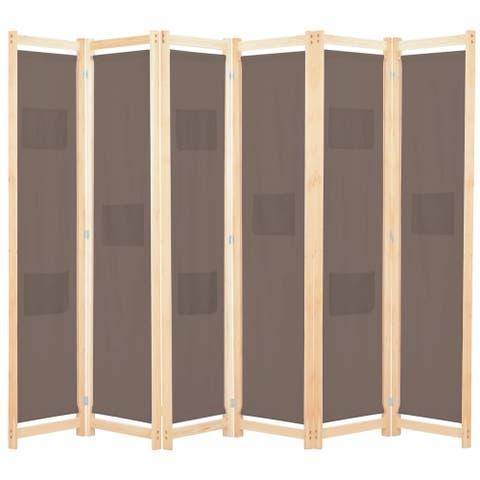 "vidaXL 6-Panel Room Divider Brown 94.5""x66.9""x1.6"" Fabric"