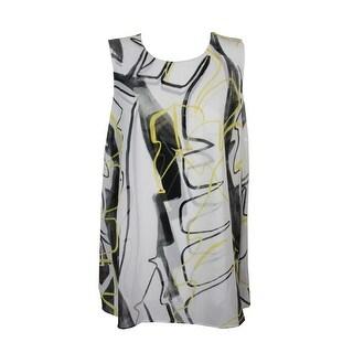 Alfani White Multi Sleeveless Printed Layered Tunic Blouse 14
