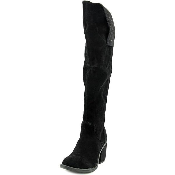Groove Katarina Women Round Toe Canvas Black Knee High Boot