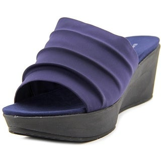 Bandolino Dallin Women Open Toe Canvas Blue Wedge Sandal