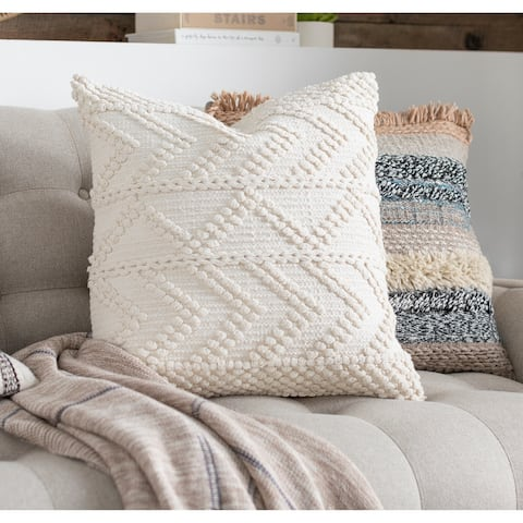 Nadra Bohemian 22-inch Poly or Feather Down Filled Throw Pillow