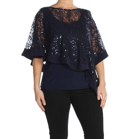 R&M RICHARDS Womens Navy Sequin Lace Sleeveless Scoop Neck Party Top Plus Size: 16W