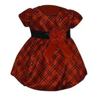 Baby Girls Red Black Checkered Pattern Rose Christmas Holiday Dress