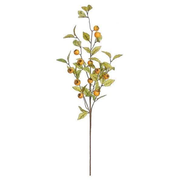 """32"""" Autumn Harvest Gold Crater Berry and Foliage Artificial Thanksgiving Spray"""