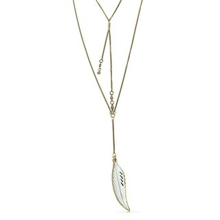 Gold Plated White Bone Feather Boho Multilayer Lariat Necklace 35in