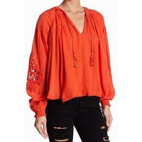 Free People NEW Orange Women's Size XS Floral-Lace Hooded Blouse