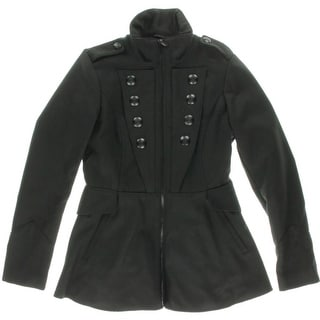 Celebrity Pink Womens Juniors Double-Breasted Funnel Neck Military Jacket