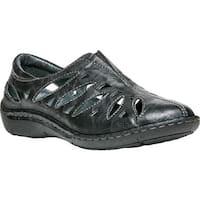 Propet Women's Cameo Slip On Shoe Black Full Grain Sheep Leather