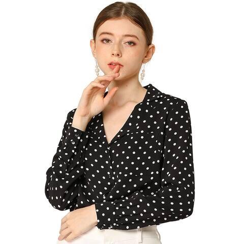 Women's Button Notched V Neck Long Sleeves Heart Polka Dots Shirt Tops