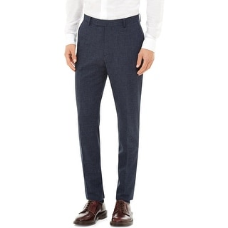 Hardy Amies Heddon Fit French Navy Blue Cotton Flat Front Dress Pants 38