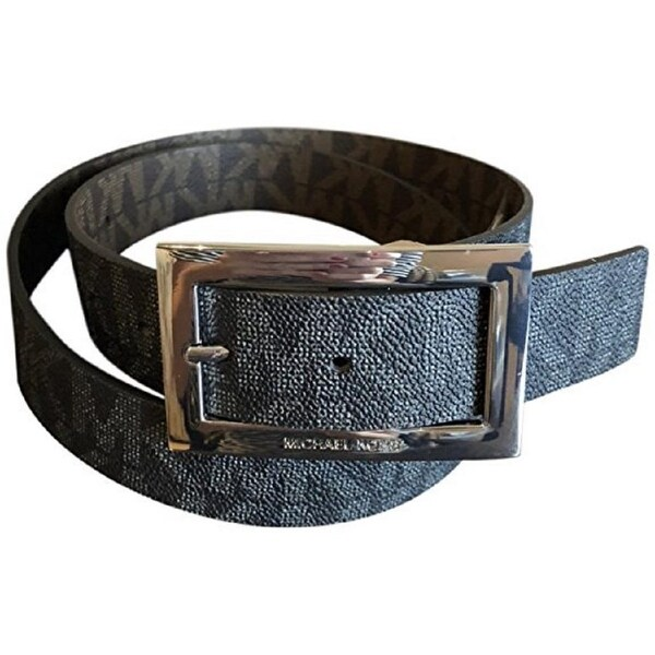 5c88fb66bcb1 Michael Kors Women's Rectangle Buckle Reversible Black To Brown Logo  Belt 551814C
