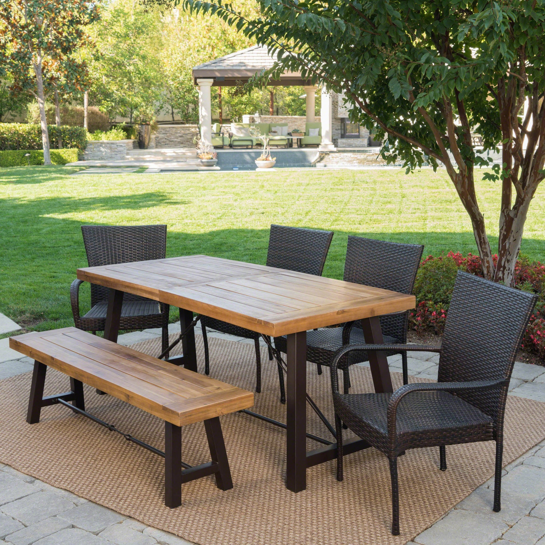 Salons Outdoor 6 Piece Wicker Wood Dining Set By Christopher Knight Home On Sale Overstock 18738223