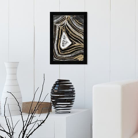 Oliver Gal 'AmoreGeo' Abstract Wall Art Framed Print Crystals - Black, Gold