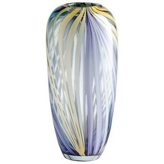 "Cyan Design 09178  Rhythm 5-3/4"" Diameter Glass Vase - Purple / Yellow"