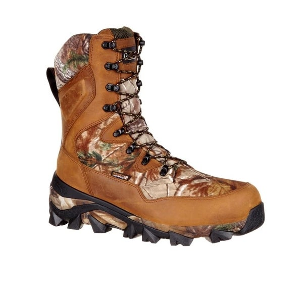 Rocky Outdoor Boots Men Claw Leather Nylon Brown Realtree AP