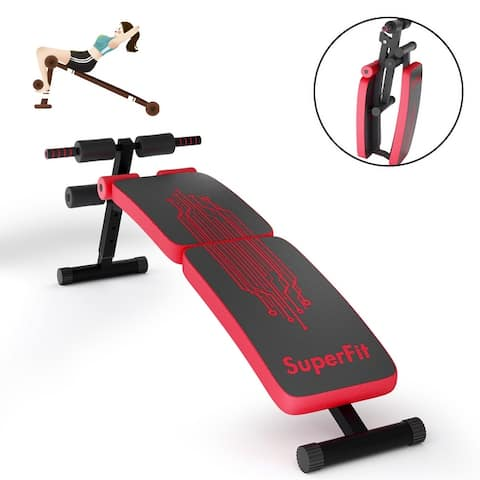 SuperFit Folding Weight Bench Adjustable Sit-up Board Curved Decline