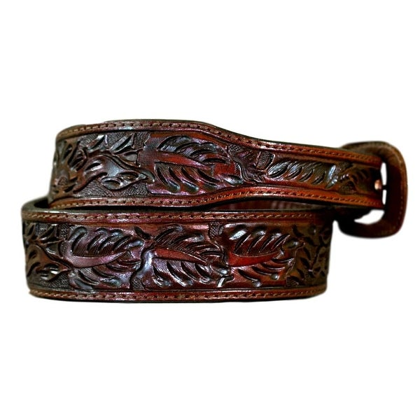 Vogt Silversmiths Western Belts Mens Floral Saddle Brown