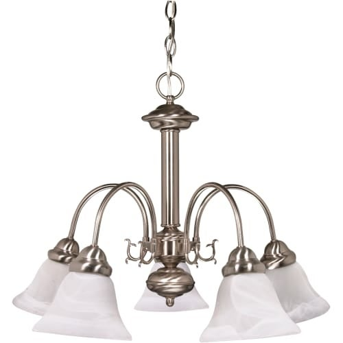 "Nuvo Lighting 60/3180 Ballerina 5 Light 24"" Wide Chandelier with Alabaster Bell Glass Shades"
