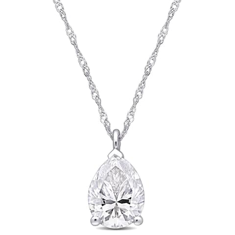 Miadora 10k White Gold 2ct TGW Created Moissanite Solitaire Teardrop Necklace - 12.4 mm x 17 inch x 7.1 mm