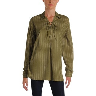 Free People Womens Blouse Linen Lace Up