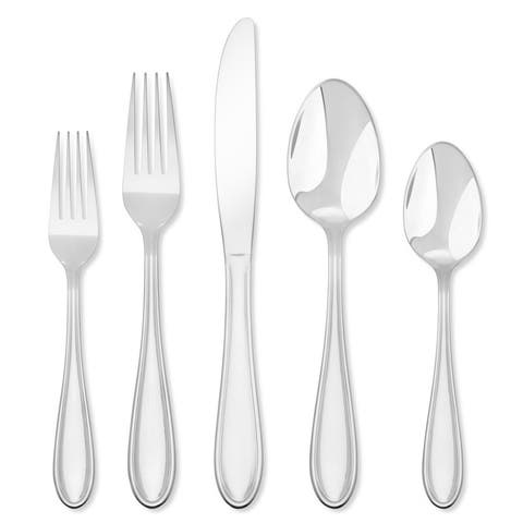 Hampton Forge Lincoln - 46 Piece Flatware Set, Service for 8 with 5 Piece Serving Set and Wire Storage Caddy