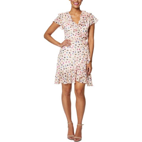 Betsey Johnson Womens Petites Casual Dress Bug Floral - Bare Essential