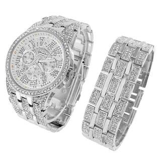 Iced Out Watch Bracelet Gift Set Hip Hop Silver Tone Lab Diamonds 48mm Men