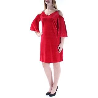 MSK Womens New 1337 Red Rhinestone Cut Out Velvet 3/4 Sleeve Shift Dress 8 B+B