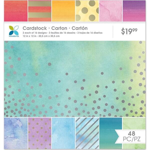 "Momenta Paper Pack 12""X12"" 48/Pkg-Watercolor Metallic, 16 Designs/3 Each"